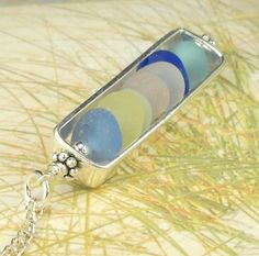 GENUINE Sea Glass Necklace Sterling Silver Rectangle Locket - Etsy SurfSideSeaGlassGems
