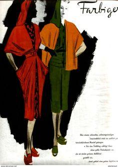 Bücher, Zeitschriften, Comics - Farbiger Frühling / Druck, entnommen aus Modezeitschrift 1942
