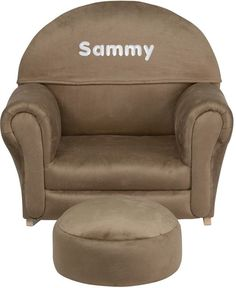 Flash Furniture SF-03-OTTO-MIC-BRN-EMB-GG Personalized Kids Brown Microfiber Rocker Chair and Footrest