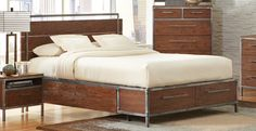 "Queen Bed CS203801Q > Description :  One of the brightest new trends in furniture designs is Industrial. The metal framed bed and matching cases are powder coated in natural pewter finish. Store away blankets in the platform bed that has a storage in the footboard. Case pieces are secured by corner L-brackets and feature five-sided drawer boxes. The bed has a flat panel platform with storage at foot of the bed. Drawers are 20"" deep. The night stand has cord access for recharging your…"