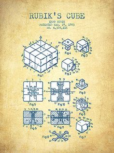 Aged Pixel - Rubiks Cube Patent from 1983 - Vintage Paper