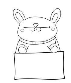 UselessTrinkets_Freebie_Bunny_with_Sign_MemoBunny by Jessa Feig