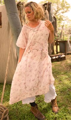 Light Cotton Nola Dress in Flour Sac Florals with Hand Embroidery in Antique Sea Shell  & European Cotton Fleur Bloomers with Side Buttons, Backtie, and Lace Ruffle | Magnolia Pearl
