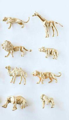 Gold, Silver or Custom Color Safari Theme Favors, One Dozen Mini Jungle Animal Table Decorations, Safari Baby Shower, Safari Birthday Party