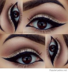 Tutoriel de Maquillage : gold-glitter-eye-make-up-with-black-for-brown-eyes...