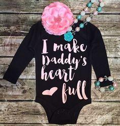 I Make Daddy's Heart Full Baby Girl Onesie Fathers Day Onesies - BellaPiccoli #babystuffaunt