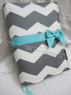 "The {Chevron Stripe Bible Cover} by Cute Covers fits 5 ½"" x 8 ½"" x 1½"" Aqua bow and rhinestone cross, $18.00"