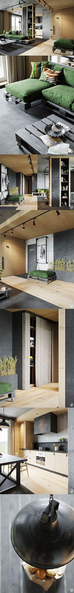 Studio Apartment Design Ideas with The Advantages Studio Apartment Design, Apartment Interior, Home Interior, Industrial Interior Design, Industrial Interiors, Interior Design Living Room, Interior Exterior, Exterior Design, Home Deco