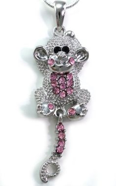 Adorable Light Pink Monkey Chimpanzee Pendant Necklace Peach Pink Stone Charm Silver Tone Chain Animal Fashion Jewelry Soulbreezecollection. $9.99. Nickel and Lead Free / Lead Compliant. Stone: Light Pink (Colors May Vary Due To Different Display Settings). Chain Length: Approx. 17.5 Inch Length. Material: Rhodium Plated; Condition: Brand New. Pendant Size: Approx. 0.75 Inch Width x 1.2 Inch Length. Save 33%!