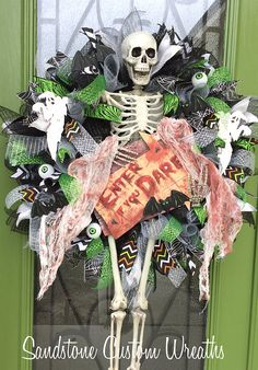 Halloween Skeleton Enter if you Dare Mesh Wreath Mesh