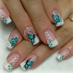 Hot Trendy Nail Art Designs that You Will Love Spring Nail Art, Nail Designs Spring, Gel Nail Designs, Spring Nails, Nails Design, Fingernail Designs, Butterfly Nail Designs, Butterfly Nail Art, Nail Photos