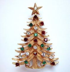 Signed MYLU Rhinestone Christmas Tree Brooch Pin