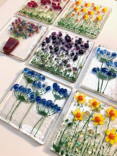 Fused glass 'tiles', flowers and plants, to be fixed to quality cards for you to give or keep and frame. Fused Glass Ornaments, Fused Glass Jewelry, Fused Glass Art, Stained Glass Art, Snowman Ornaments, Glass Artwork, Glass Wall Art, Glass Tiles, Mosaic Glass