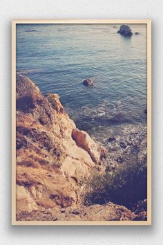 Portrait color print of the rocks ocean waves of Shell Beach in Pismo Beach, California.