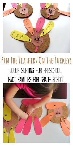 2 Turkey Math Activities: Color Sorting for Preschool & Fact Families for Grade School (from No Time For Flash Cards)