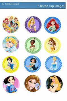 Free Bottle Cap Images: Disney Princess free digital bottle cap images