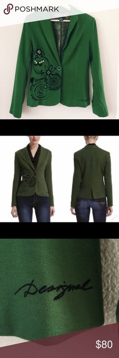 Desigual Jacket Desigual Jacket in a beautiful green. Perfect condition like new. Size 40 Desigual Jackets & Coats Blazers
