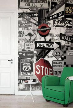 Street Signs Mural - Mr Perswall Wallpapers - A fun photo montage of road signs, with some quirky additions. Available in 3 colours – shown in the black and white with red highlights. Total mural size 180 cm wide and 265 cm high. Deco New York, Teenage Room, Street Signs, Wall Street, Boy Room, Kids Bedroom, Bedroom Ideas, Bedroom Art, Wall Murals