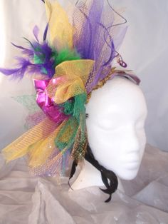 Your place to buy and sell all things handmade Mardi Gras Attire, Mardi Gras Hats, Fascinator Headband, Fascinators, Headpiece, Gold Tulle, Area 3, Good Times Roll, Holiday Decorations