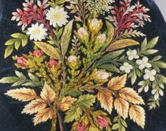 1800s Embroidery - victorian embroidery - crewel embroidery - vintage  No.0023 cs