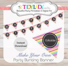 Rainbow Chevron Party Bunting Printable - INSTANT & EDITABLE - PDF Printable - Diy Party Printables