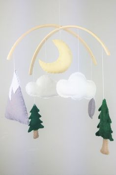 Complete craft kit containing all you need to make this beautiful baby mobile in felt. Perfect letterbox gift for an expecting mum who wants a manageable project during lockdown. £20, etsy.com/uk/shop/FawnandBrambleLtd Nursery Themes, Nursery Decor, Mountain Nursery, Letterbox Gifts, Felt Baby, Binky, Nursery Furniture, Craft Kits, Beautiful Babies