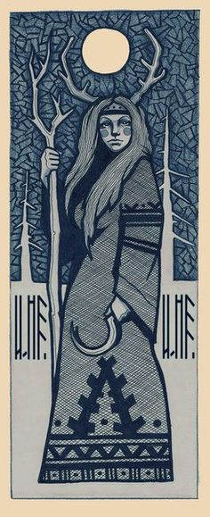 Woodcut of Elen of the Ways depicts her as a lunar goddess with a sickle. Wicca, Goddess Art, Goddess Pagan, Winter Goddess, Celtic Mythology, Druid Symbols, Pagan Art, Vegvisir, Bild Tattoos