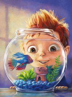 Garçon admirant son poisson multicolore, évoluant dans un bocal aquarium (site russe) || #aquarium #bocal #poisson #enfant #illustration #conte #russe