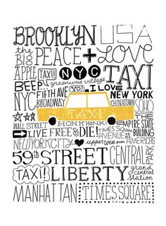 NYC Taxi Art Print City Themed Art - The iconic Yellow Taxi Cab - Illustration by Michael Mullan - Printed on archival, acid-free Epson Velvet Fine Art Paper - Shown in - Frame not includ New York Broadway, Broadway News, New York Street, New York City, I Love Nyc, My Love, A New York Minute, Empire State Of Mind, City That Never Sleeps