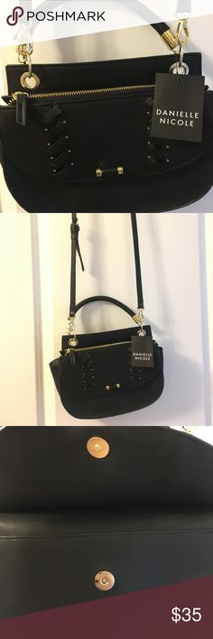 Danielle Nicole black satchel Danielle Nicole black satchel with gold hard wear and adjustable shoulder strap. Perfect for those who enjoy small handbags with compartments. Danielle Nicole Accessories