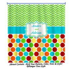 Chevron and Polka Dot Personalized Shower by PAMPERYOURSTYLE, $76.00