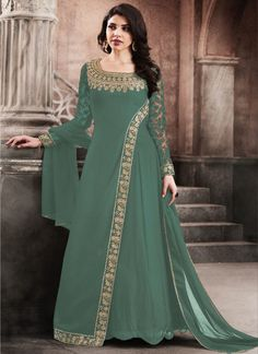 Sea Green Color Traditional Party Wear Look Stylish Georgette Fabric Embroidered Wedding Wear Ethnic Wear Fancy Designer Floor Length Gown Style Salwar Suit Indian Fashion Dresses, Indian Gowns Dresses, Indian Designer Outfits, Abaya Fashion, Pakistani Dresses, Indian Outfits, Designer Party Wear Dresses, Kurti Designs Party Wear, Designer Wear