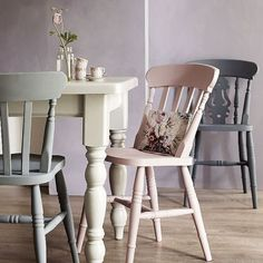 Ideas Kitchen Table And Chairs Ideas Painting Furniture Farmhouse Kitchen Tables, Kitchen Chairs, Farmhouse Furniture, Country Farmhouse, Kitchen Dining, Farmhouse Ideas, Kitchen White, Country Furniture, Kitchen Paint