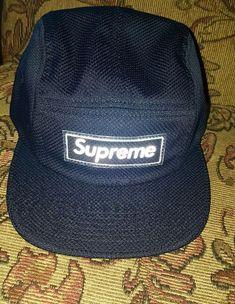 Supreme Nylon Pique Box Logo Camp Cap Navy SS18 IN HAND  Supreme   5panelCampcap 0fb11914fca0