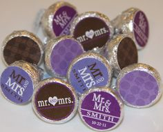 Hershey Kiss Labels- Candy Stickers For Kisses - DIY - Mr and Mrs Theme - Weddings - Customizable Hershey Kiss Label File. $12.00, via Etsy.