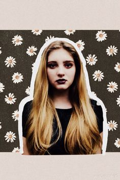 Willow Shields, daisies, print, long hair, simple, dark lipstick