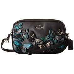 COACH Butterfly Applique Crossbody Pouch (Dark/Black Multi) Travel Pouch