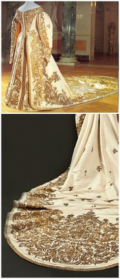 "Court gown of Empress Alexandra Feodorovna, wife of Nicholas II. By Mme. Olga Nikolaevna Bulbenkova (1835-1918), St. Petersburg, c. 1890. White silk moiré silver and gold thread. Pavlovsk State Museum-Preserve. Photos via: (above): Pinterest; (below): http://hospitalitymanagement.ru/ru/blog/krasota-bez-vnimaniya#1. See also the ""Jewels of the Romanovs"" online exhibition (http://www.alexanderpalace.org/jewels/afdress2.html)"