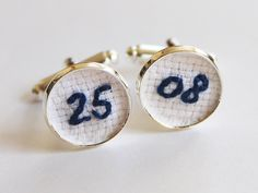 Wedding Date Embroidery Cuff Links Cotton Anniversary Gift, Blue Navy Groom Personalized Cufflinks Groom Gift for Him Birthday Cufflinks by Aristocrafts on Etsy https://www.etsy.com/listing/209816624/wedding-date-embroidery-cuff-links