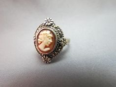 VTG Sterling Silver Cameo Ring Carved Marked 925 Size 8 Marcasite Accents Flower #GI #righthand