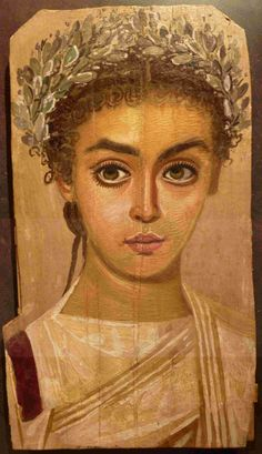 Egyptian Roman period mummy mask of a young woman, c 150AD El Fayum