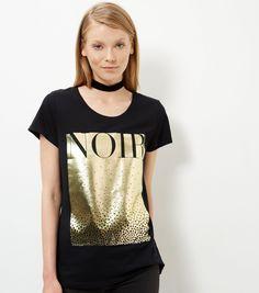 Black Gold Foil Noir T-Shirt  | New Look