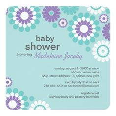 Baby Shower Invitation   Purple Aqua Blue Daisy