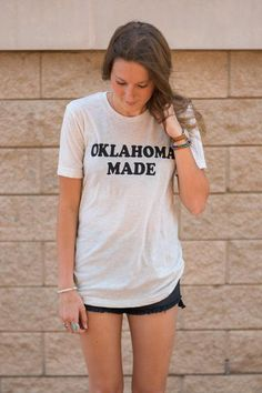 Oklahoma Made unisex t-shirt. This easy to wear unisex fitting t-shirt is just what any Okie needs to add to their trendy Oklahoma apparel wardrobe! 50% polyest