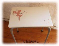 Bureau d'écolier Vintage Relooké Fée gris blanc rose - tables - LésidéAL - Fait Maison