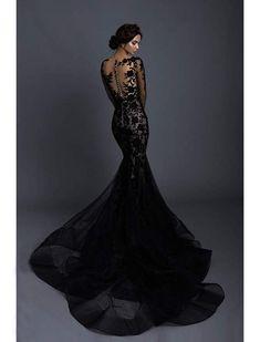 Goth Wedding Dresses, Black Wedding Gowns, Black Bridal Dresses, Dress Couture, Mermaid Dresses, Black Mermaid Dress, Illusion, Beautiful Dresses, Ball Gowns