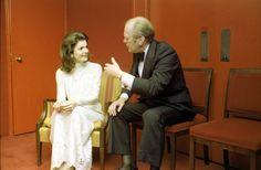 """fordlibrarymuseum: """" President Ford chats with Jacqueline Kennedy Onassis at an intermission reception during a """"Bicentennial Salute to the Performing Arts"""" at the John F. Kennedy Center for the..."""