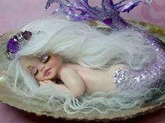OOAK art doll fantasy mermaid baby february birthstone polymer clay sculpture fairy IADR free shipping. $159.00, via Etsy.