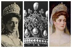THE ROMANOV PEARL KOKOSHNIK TIARA ~ Nothing says of imperial Russia better than a giant pearl and diamond kokoshnik tiara, most frequently associated with Alexandra, the last empress of Russia. The tiara is sometimes said to date from the era of Catherine the Great. If that's true, it would make it one of the oldest tiaras that any royal family has ever owned. You can probably guess where this tiara ended up after the revolution in Russia. There's no clear answer to where this one ended up.
