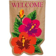Tropical Welcome Burlap House Flag